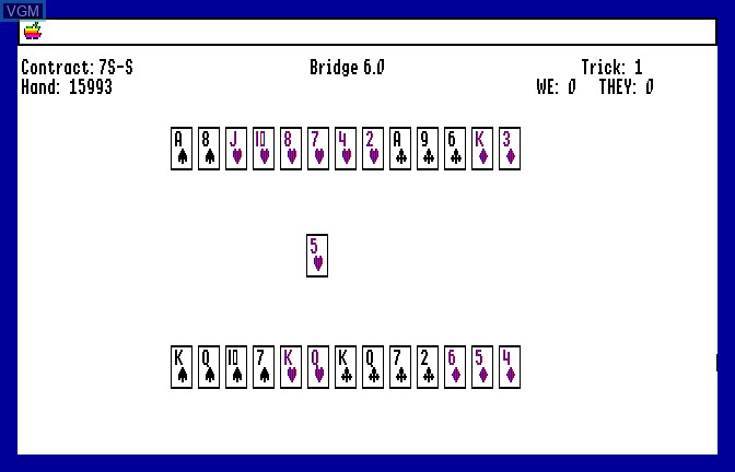 In-game screen of the game Bridge 6.0 - Your Bid For Entertainment on Apple II GS