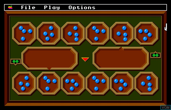 In-game screen of the game Mancala on Apple II GS