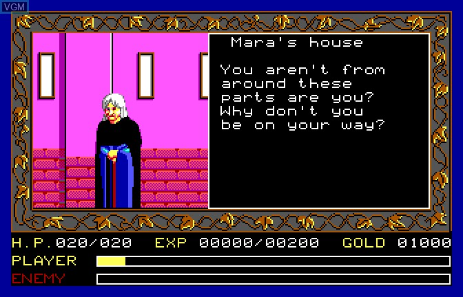 In-game screen of the game Ancient Land of Ys on Apple II GS