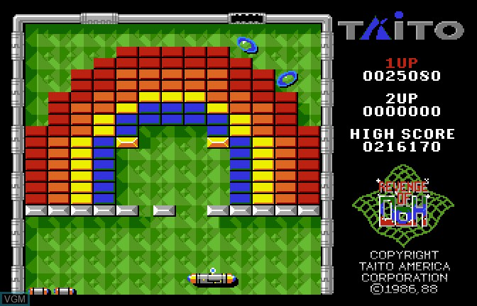 In-game screen of the game Arkanoid II - Revenge of Doh on Apple II GS