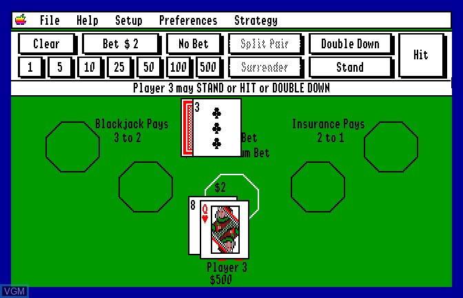 In-game screen of the game Blackjack Academy on Apple II GS
