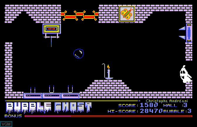 In-game screen of the game Bubble Ghost on Apple II GS