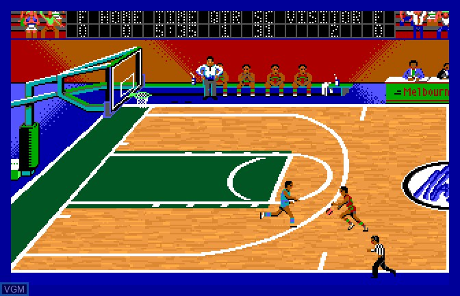 In-game screen of the game Magic Johnson's Basketball on Apple II GS