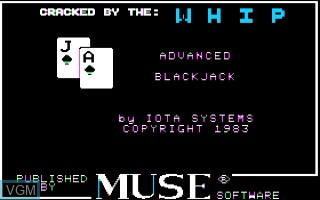 Title screen of the game Advanced Blackjack on Apple II