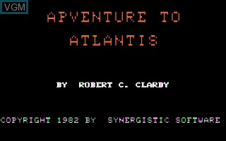 Title screen of the game Adventure To Atlantis on Apple II