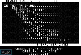In-game screen of the game Beagle Bag on Apple II