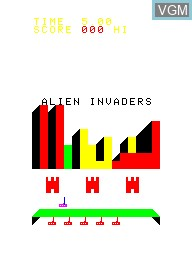 Title screen of the game Alien Invaders on Emerson Radio Corp. Arcadia 2001