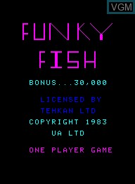 Title screen of the game Funky Fish on Emerson Radio Corp. Arcadia 2001