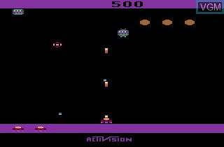 In-game screen of the game Spider Fighter on Atari 2600
