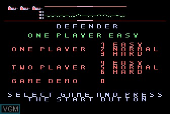 Title screen of the game Defender on Atari 5200