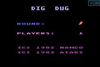 Title screen of the game Dig Dug on Atari 5200