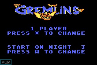 Title screen of the game Gremlins on Atari 5200