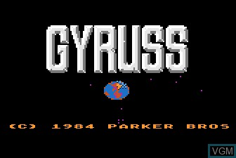 Title screen of the game Gyruss on Atari 5200