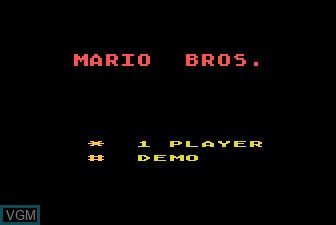 Title screen of the game Mario Brothers on Atari 5200