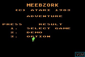 Title screen of the game Meebzork on Atari 5200