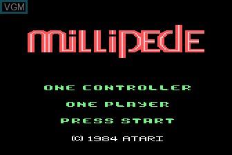 Title screen of the game Millipede on Atari 5200