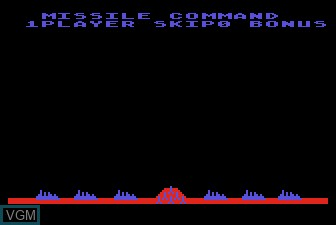 Title screen of the game Missile Command on Atari 5200