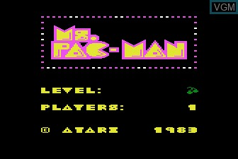 Title screen of the game Ms. Pac-Man on Atari 5200
