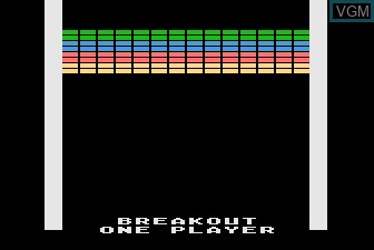 Title screen of the game Super Breakout on Atari 5200