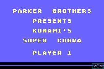Title screen of the game Super Cobra on Atari 5200
