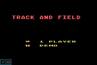 Title screen of the game Track and Field on Atari 5200
