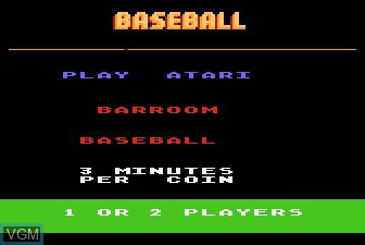 Title screen of the game Barroom Baseball on Atari 5200