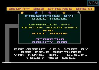Title screen of the game Bounty Bob Strikes Back on Atari 5200