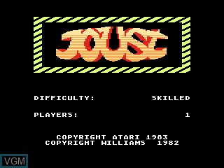 Title screen of the game Joust on Atari 5200