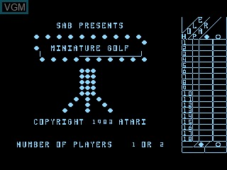 Title screen of the game Miniature Golf on Atari 5200