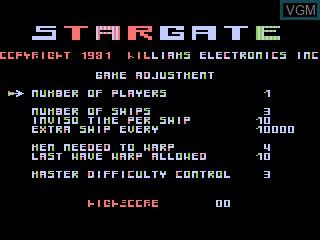Title screen of the game Stargate on Atari 5200