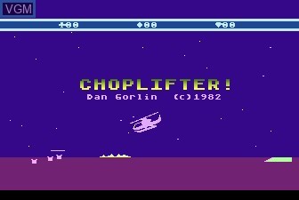Title screen of the game Choplifter on Atari 5200