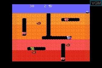 In-game screen of the game Dig Dug on Atari 5200