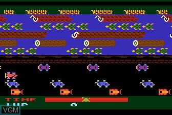 In-game screen of the game Frogger on Atari 5200