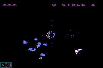 In-game screen of the game Gyruss on Atari 5200