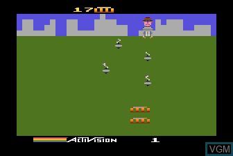 In-game screen of the game KABOOM! on Atari 5200
