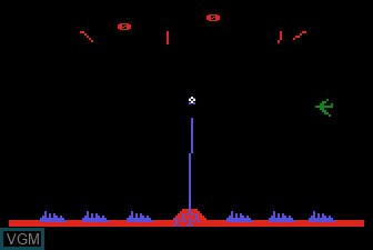 In-game screen of the game Missile Command on Atari 5200