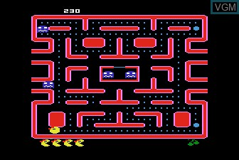 In-game screen of the game Ms. Pac-Man on Atari 5200