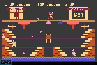 In-game screen of the game Popeye on Atari 5200