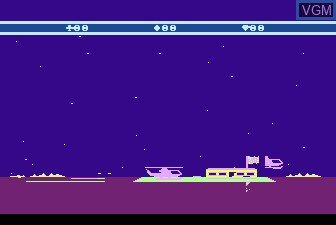 In-game screen of the game Choplifter on Atari 5200
