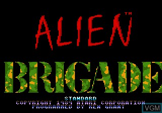 Title screen of the game Alien Brigade on Atari 7800
