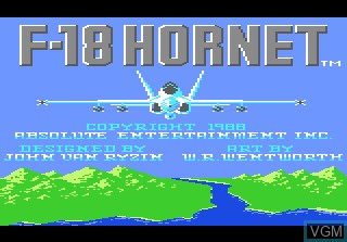 Title screen of the game F-18 Hornet on Atari 7800
