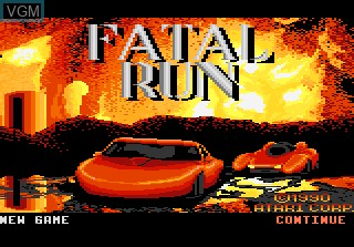 Title screen of the game Fatal Run on Atari 7800