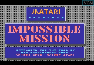 Title screen of the game Impossible Mission on Atari 7800
