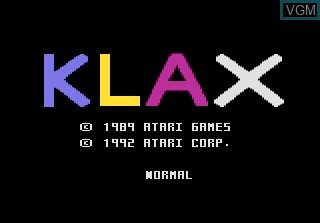 Title screen of the game Klax on Atari 7800