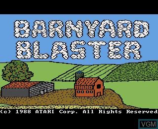 Title screen of the game Barnyard Blaster on Atari 7800