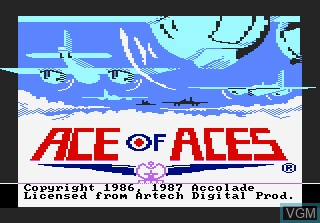Title screen of the game Ace of Aces on Atari 7800