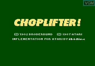 Title screen of the game Choplifter on Atari 7800