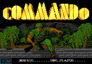 Title screen of the game Commando on Atari 7800