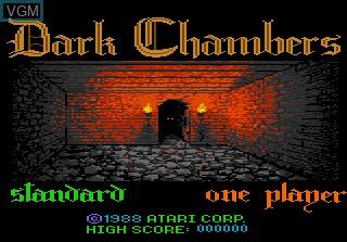 Title screen of the game Dark Chambers on Atari 7800