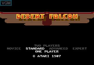 Title screen of the game Desert Falcon on Atari 7800